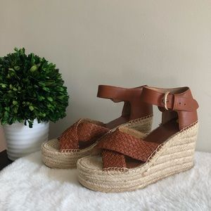 Marc Fisher Leather Weave Espadrille Sandals